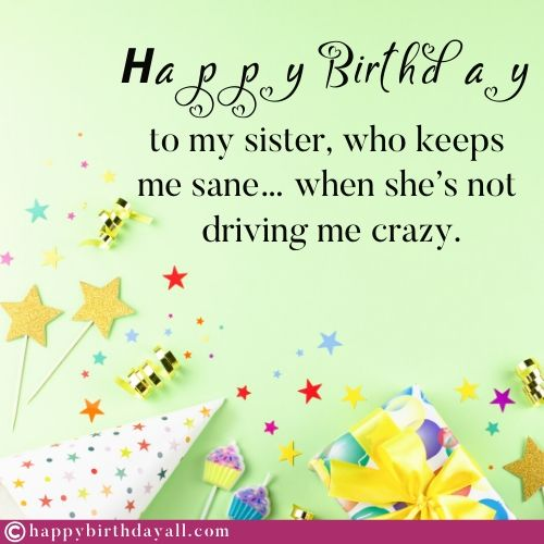 Hilarious Birthday Messages for Sister