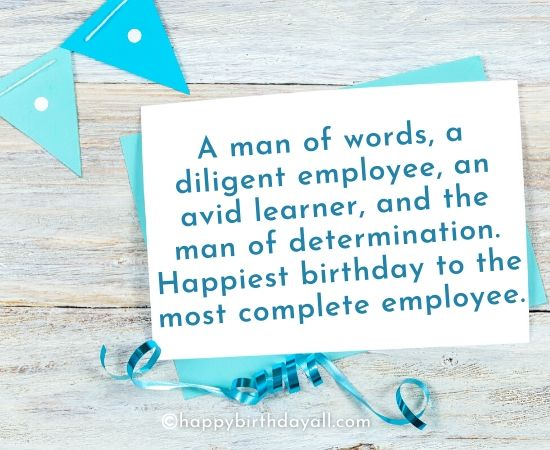 Happy Birthday Wishes for Employees from an Employer