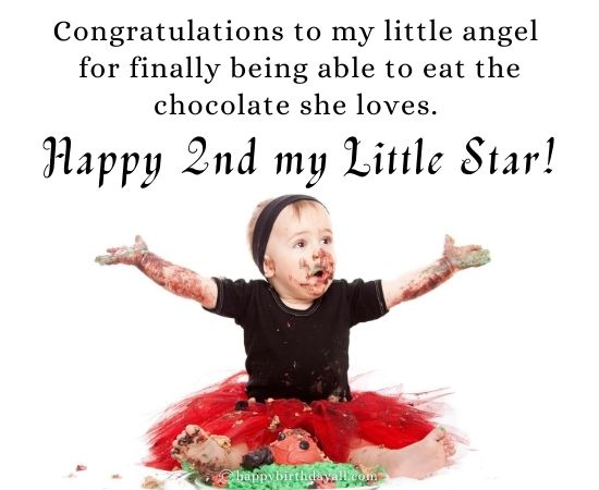 Happy 2nd Birthday Messages for 2 Year Old Baby Girl