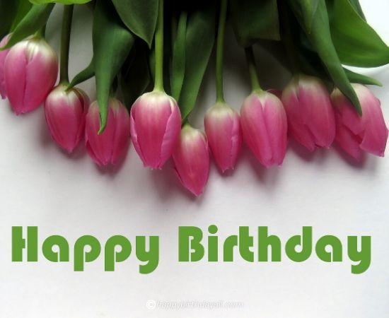 happy birthday pink flower