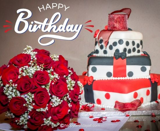 happy birthday red rose with cake