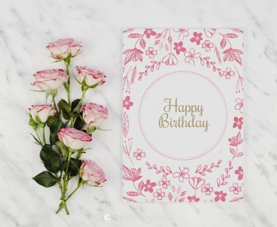 happy birthday pink flower with card