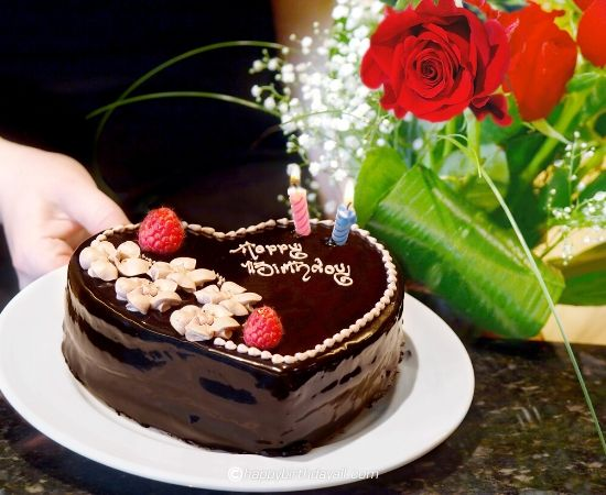 birthday chocolate cake with roses