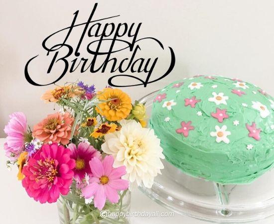 happy birthday flower with cake