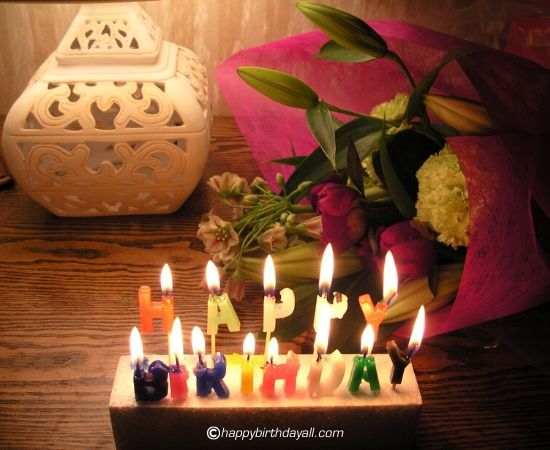birthday candles with flower