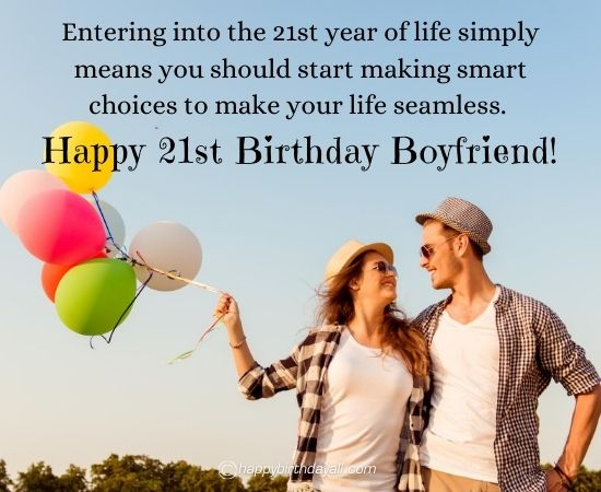 Cute 21st Birthday Messages for Him