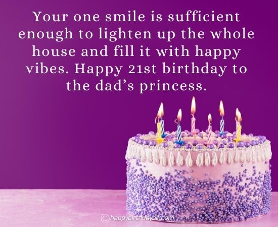 Sweet 21st Birthday Wishes for Daughter