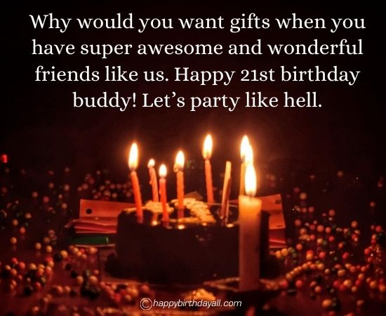 Happy 21st Birthday Wishes for Friends with Images