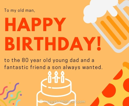 Happy 80th Birthday Wishes for Dad