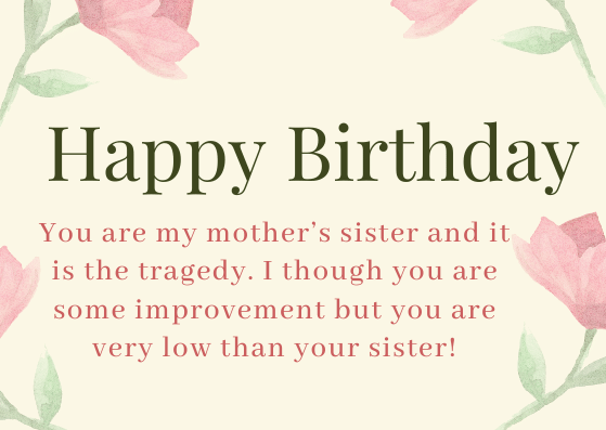 Funny Birthday Wishes for Aunt