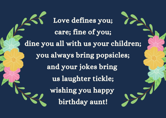 Heart Touching Happy Birthday Poems for Aunt