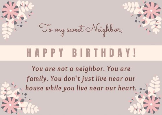 Emotional Birthday Wishes for Neighbor