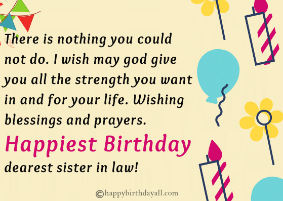 happy birthday sister in law greetings